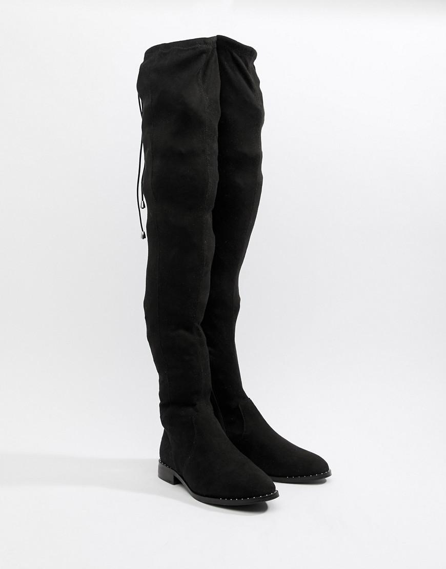 1dd129d72bf Lyst - ASOS Wide Leg Kaska Flat Studded Thigh High Boots in Black
