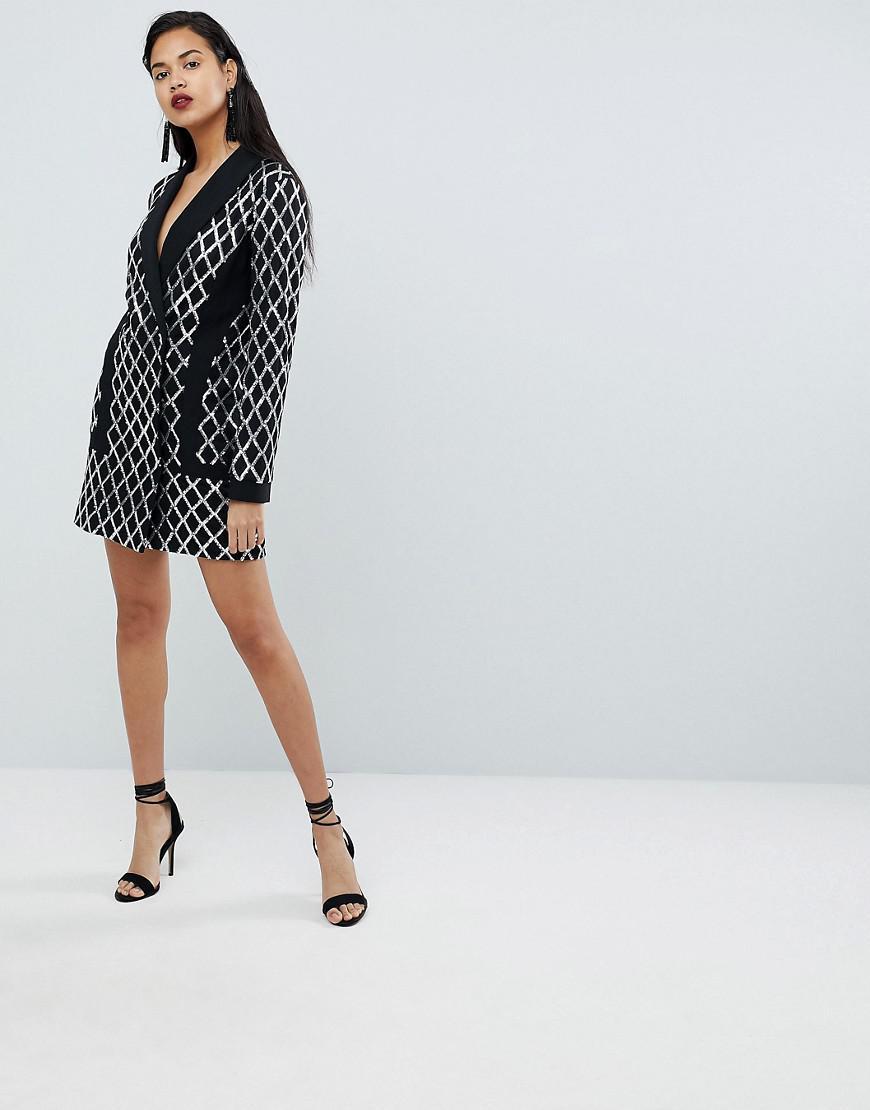 fac7062946d5 PrettyLittleThing Premium Black Sequin Blazer Dress in Black - Lyst