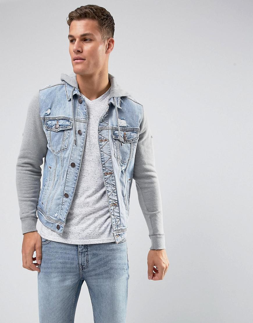 Holliser Denim Jacket With Jersey Sleeves And Hood