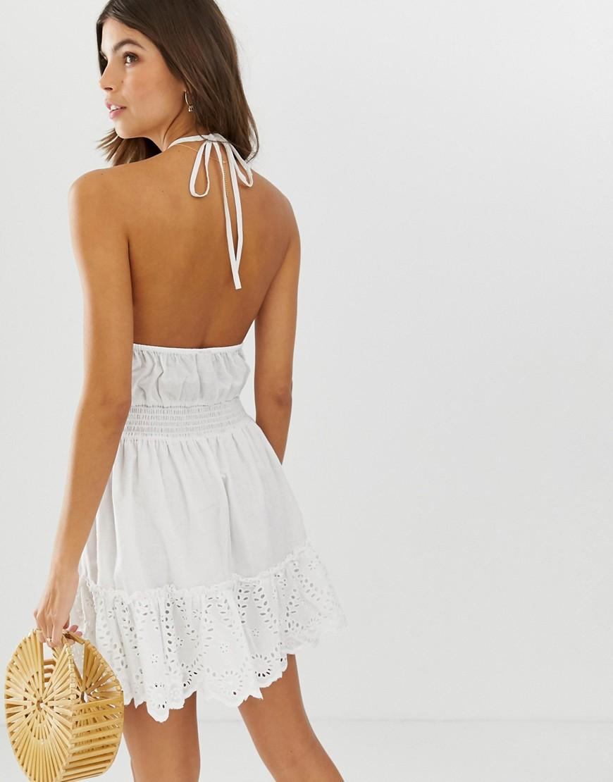 d2f38611543 Lyst - ASOS Broderie Mini Sundress With Elasticated Waist in White