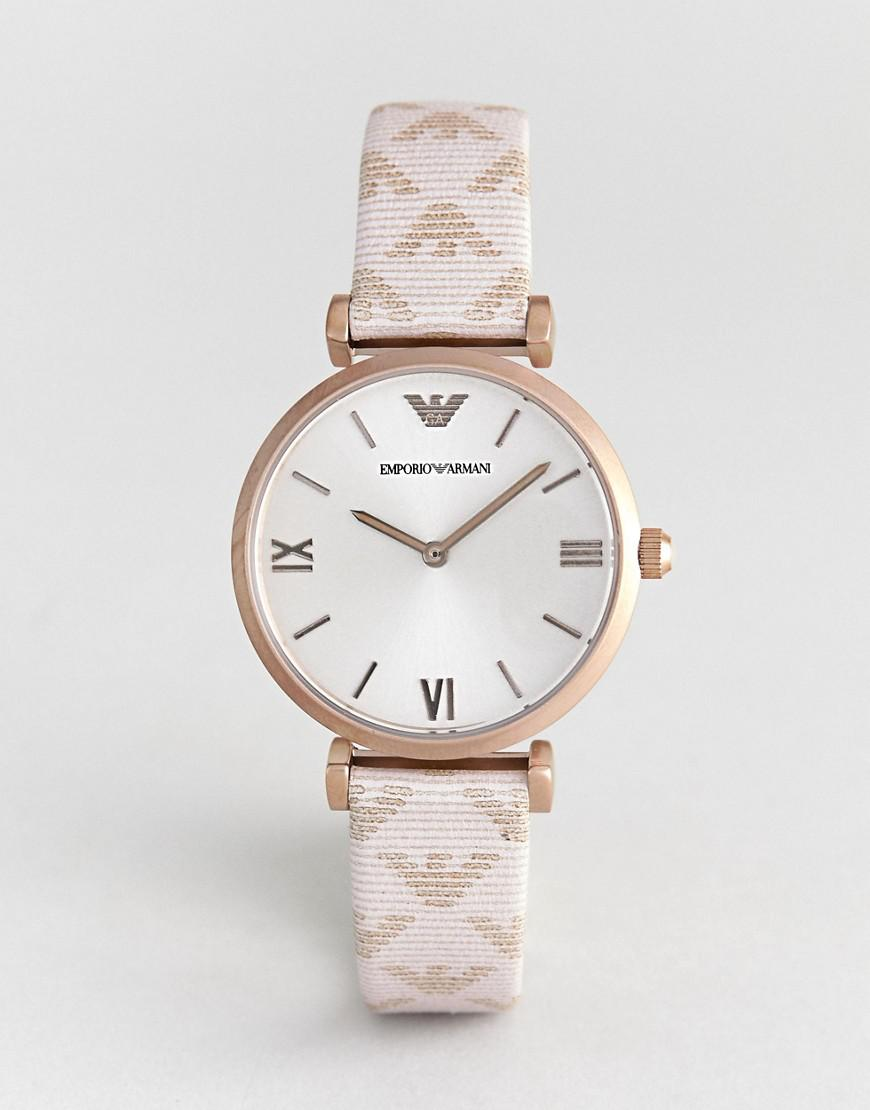 f5a31c20 Emporio Armani Pink Ar11126 Gianni T-bar Leather Watch With Logo Strap for  men