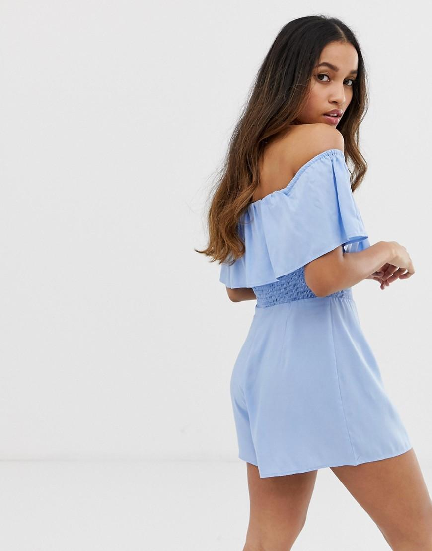 e602746e89 ASOS. Women s Blue Asos Design Petite Off Shoulder Ruffle Playsuit ...