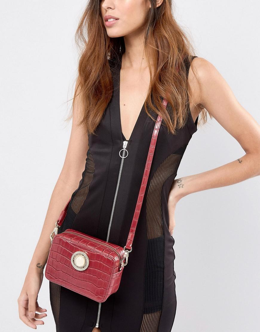 Versace Denim Jeans Small Croc Cross Body With Gold Button Detail in Red