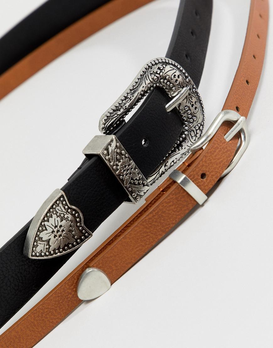 Lyst - Lot de 2 ceintures taille et hanches style western ASOS 8e3ab18074a