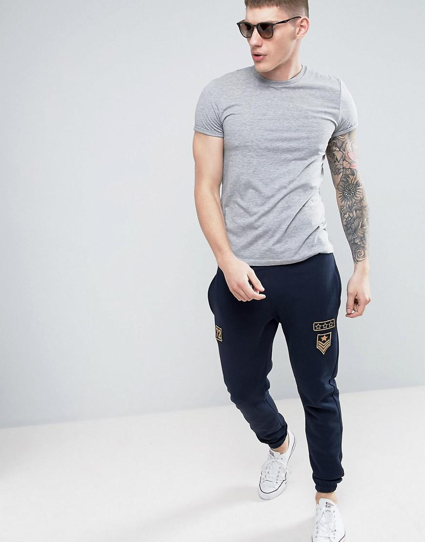 French Connection Cotton Jogger With Pocket And Space Badge Co-ord in Navy (Blue) for Men
