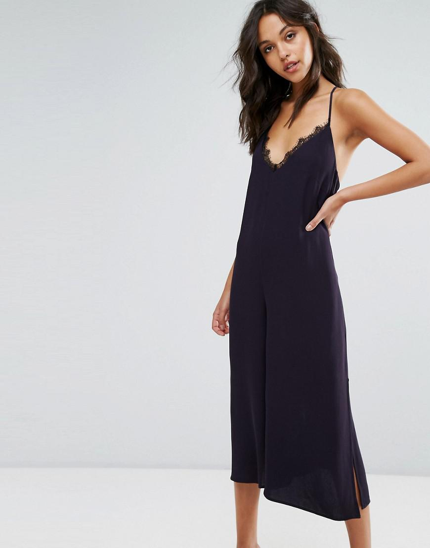 4b4a76ced832 French Connection Navy Lace Detail Jumpsuit in Blue - Lyst