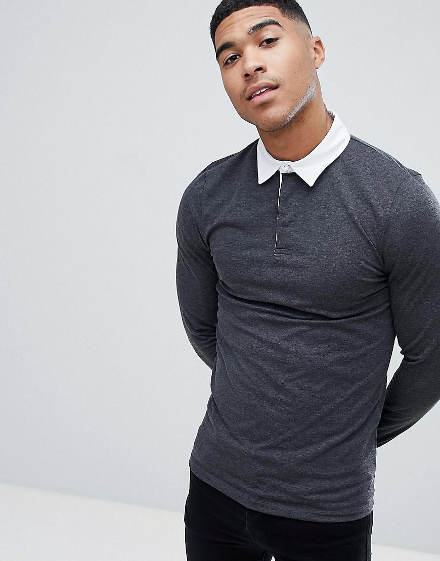 Lyst Asos Muscle Fit Long Sleeve Polo Shirt In Rugby Style In
