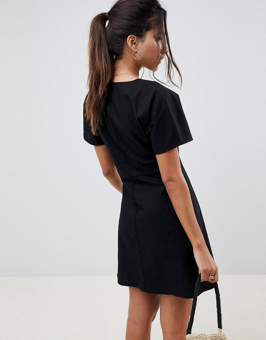 1761495996d ASOS Button Through Mini Casual Skater Dress in Black - Lyst