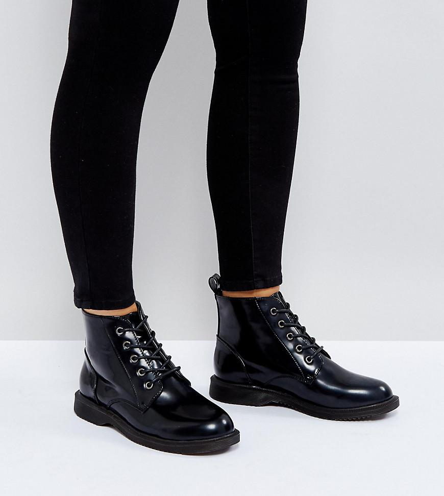 1271748406f Truffle Collection Black Wide Fit Lace Up Ankle Boots