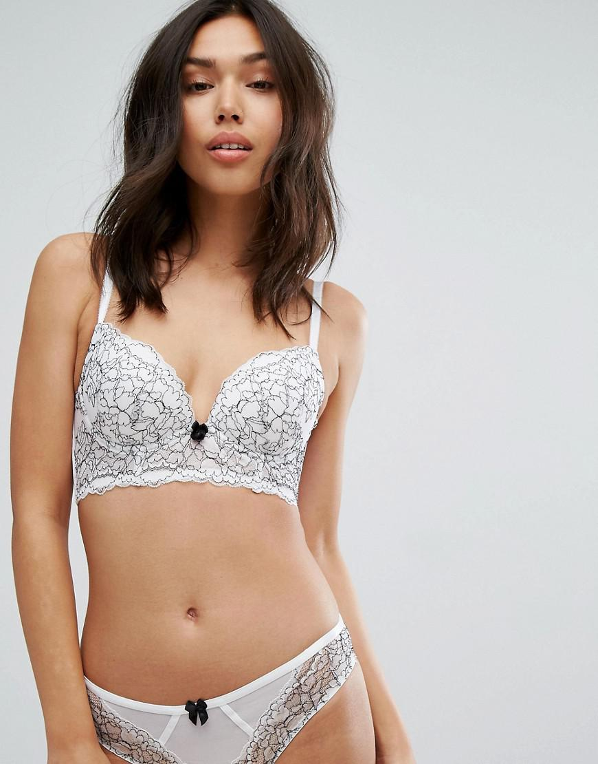 a86bad4759 Lyst - New Look Lace Push Up Longline Bra in White