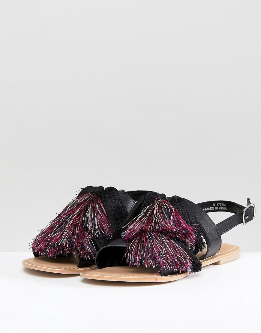 FAVOUR Wide Fit Leather Tassel Flat Sandals - Black Asos wmt1NZddQ