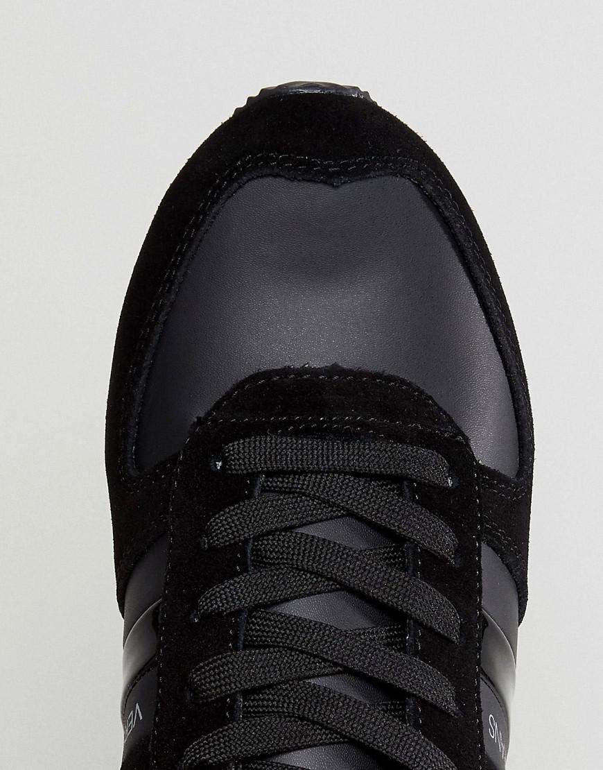 Versace Jeans Couture Denim Sneakers In Black With Stripe Logo for Men