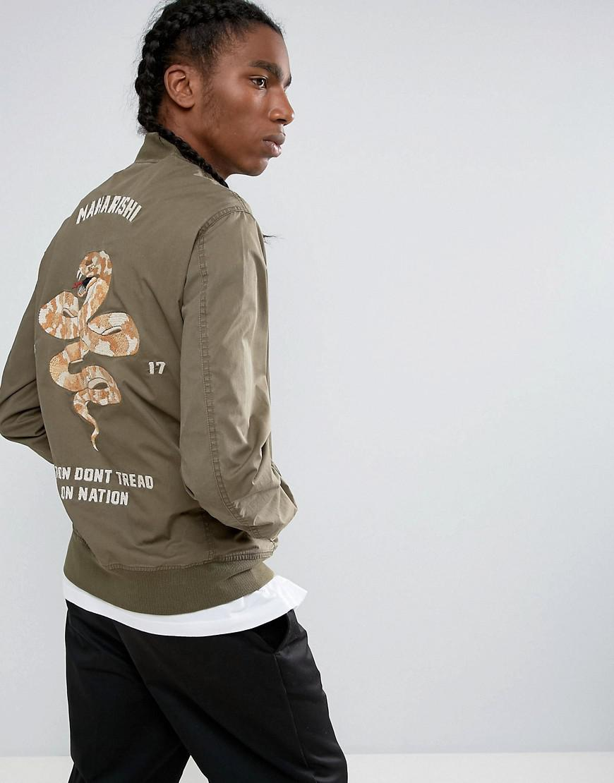 7a94b79fc Maharishi Embroidered Snake Tour Bomber Jacket in Green for Men - Lyst