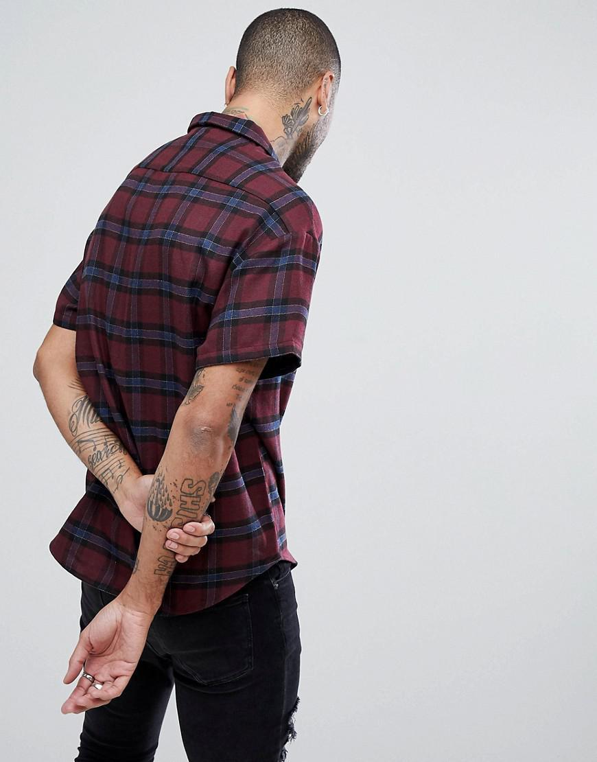 Mennace Denim Omkeerbaar Geruit Overhemd in het Rood voor heren