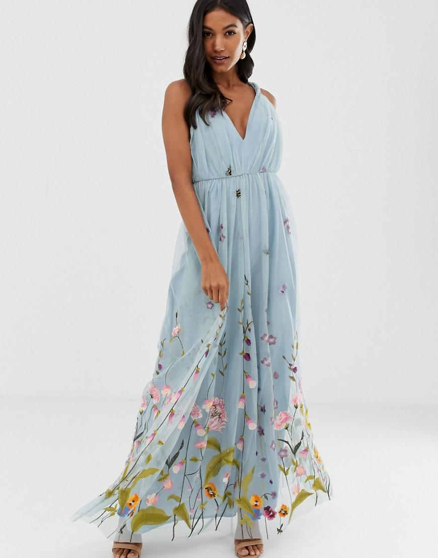 dbde72825c8 ASOS. Women s Blue Tulle Maxi Dress With Delicate Floral Embroidery And  Twist Straps