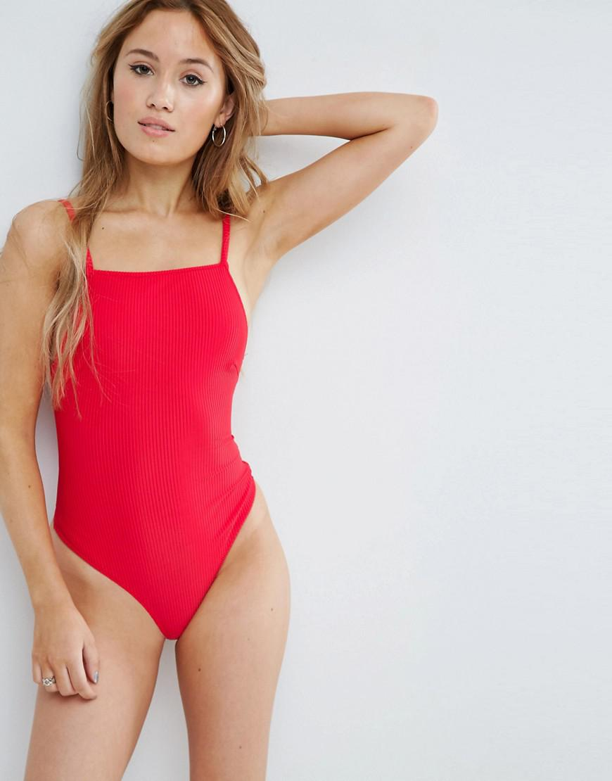 Lyst Asos Zena Ribbed High Neck Body In Red