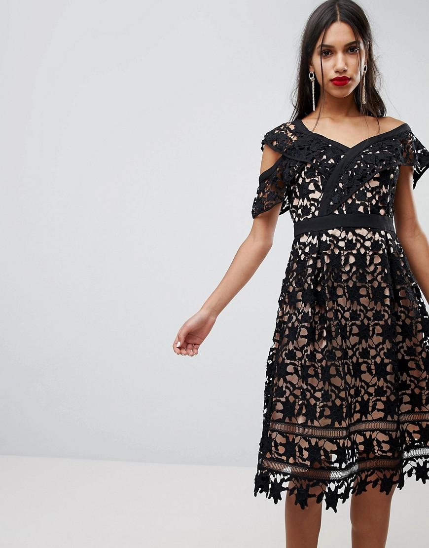 239fd2e0dac0d8 Lyst - Adelyn Rae Whitney One Shoulder Lace Dress in Black