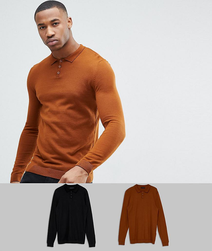 3cccd2a1 ASOS Asos 2 Pack Knitted Muscle Fit Polo In Tan/black Save in Brown ...