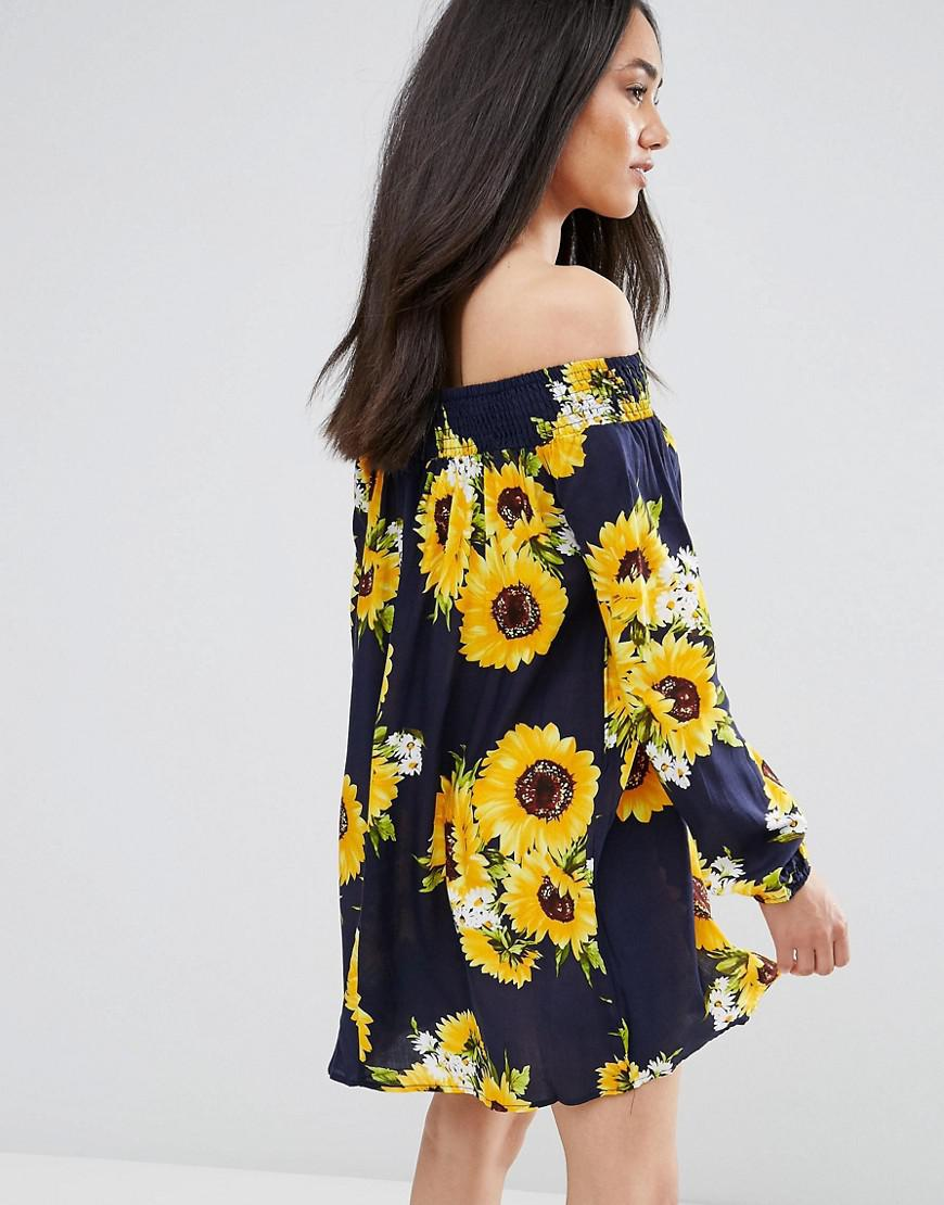 8163aaf94fa AX Paris Navy Off The Shoulder Sunflower Floral Dress in Blue - Lyst