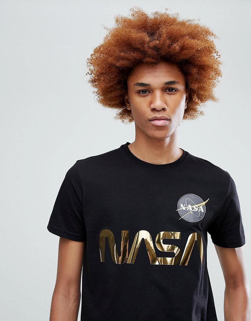 13c712074 Alpha Industries Nasa Gold Foil Print T-shirt In Black for men