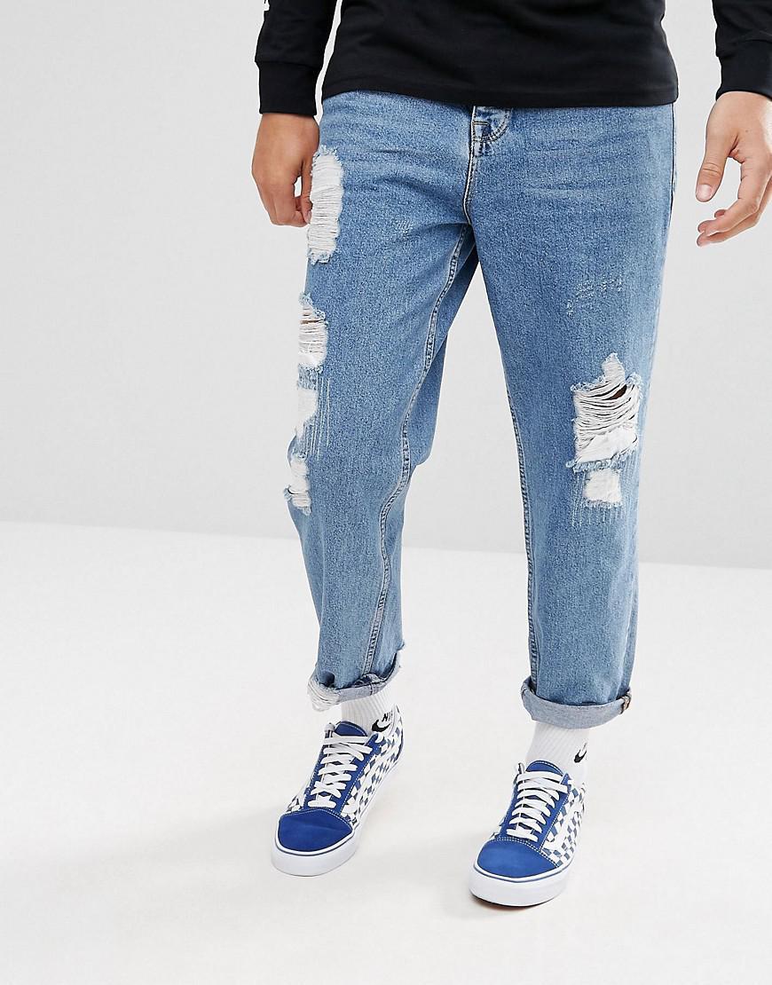 DESIGN Denim Shorts In Skater Fit In Black And Mid Wash Blue - Black / mid blue Asos sZmlUn