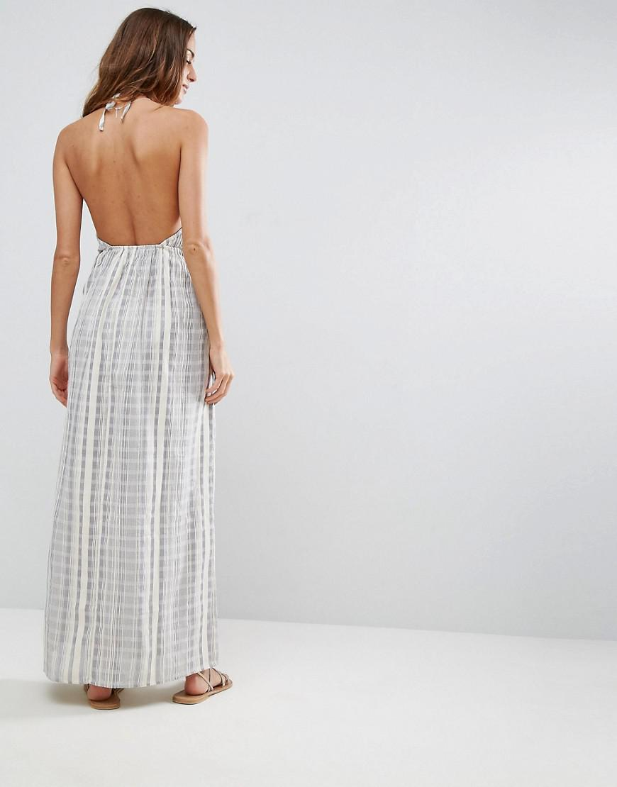 c410b4cc1a ASOS Beach Maxi Dress In Natural Fibre Stripe - Lyst