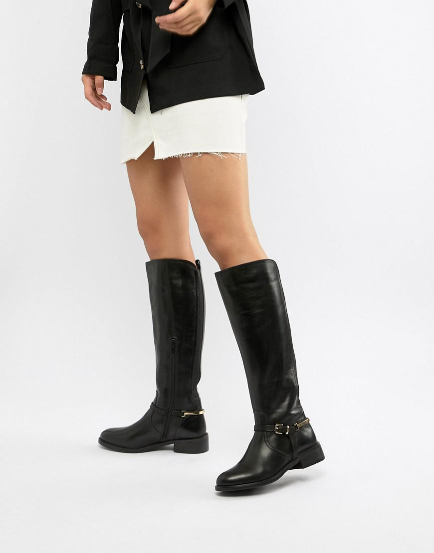 04c5fbd457c Dune Upton Leather Knee Boots in Black - Lyst