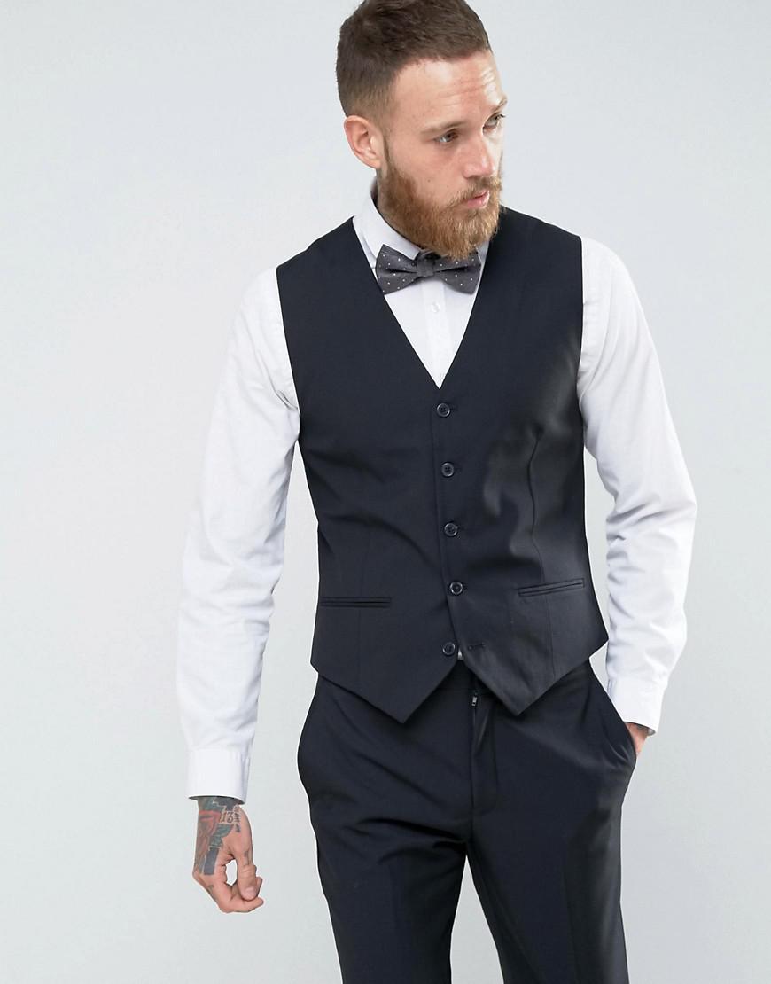 2be36c8e3 French Connection Slim Fit Black Tuxedo Vest for men