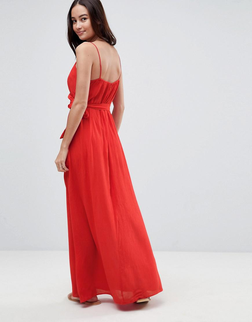 6b171c05a9 Lyst - ASOS Asos Wrap Maxi Dress in Red