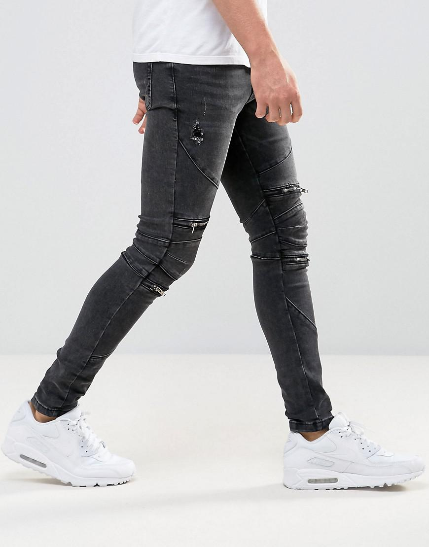 d136eb51eb60 New Look Super Skinny Biker Jeans With Abrasions In Black in Black ...