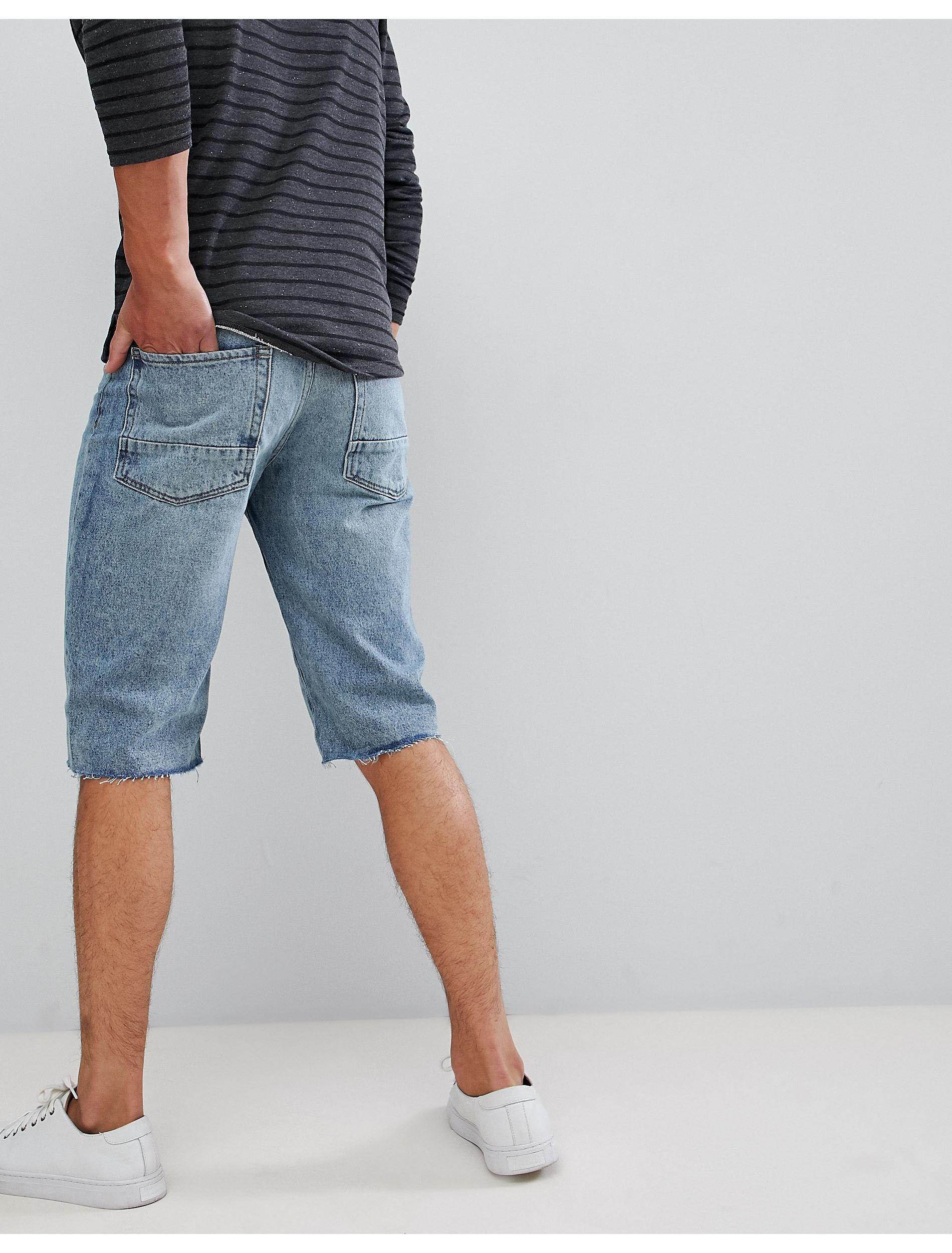 New Look Denim Short Met Onafgewerkte Zoom in het Blauw voor heren