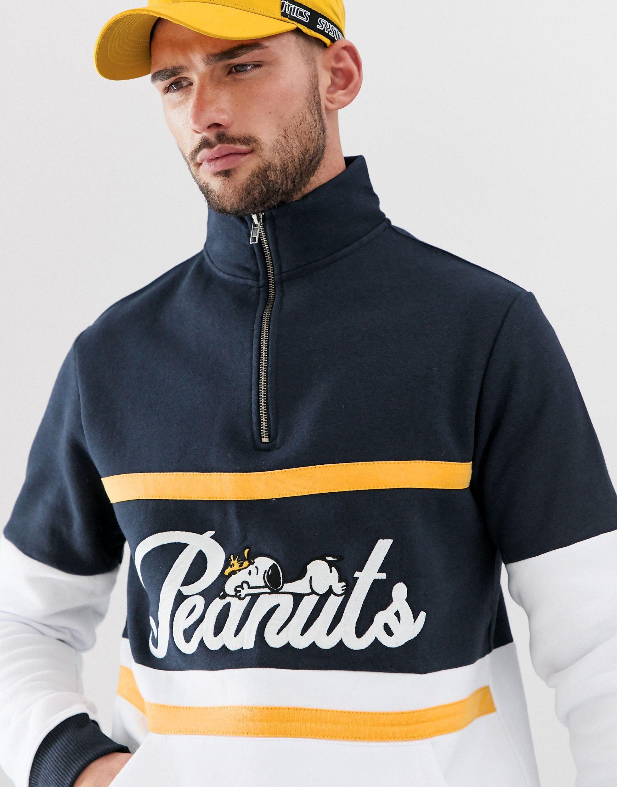 Pull&Bear Denim Peanut - Sweater Met Korte Rits in het Blauw voor heren