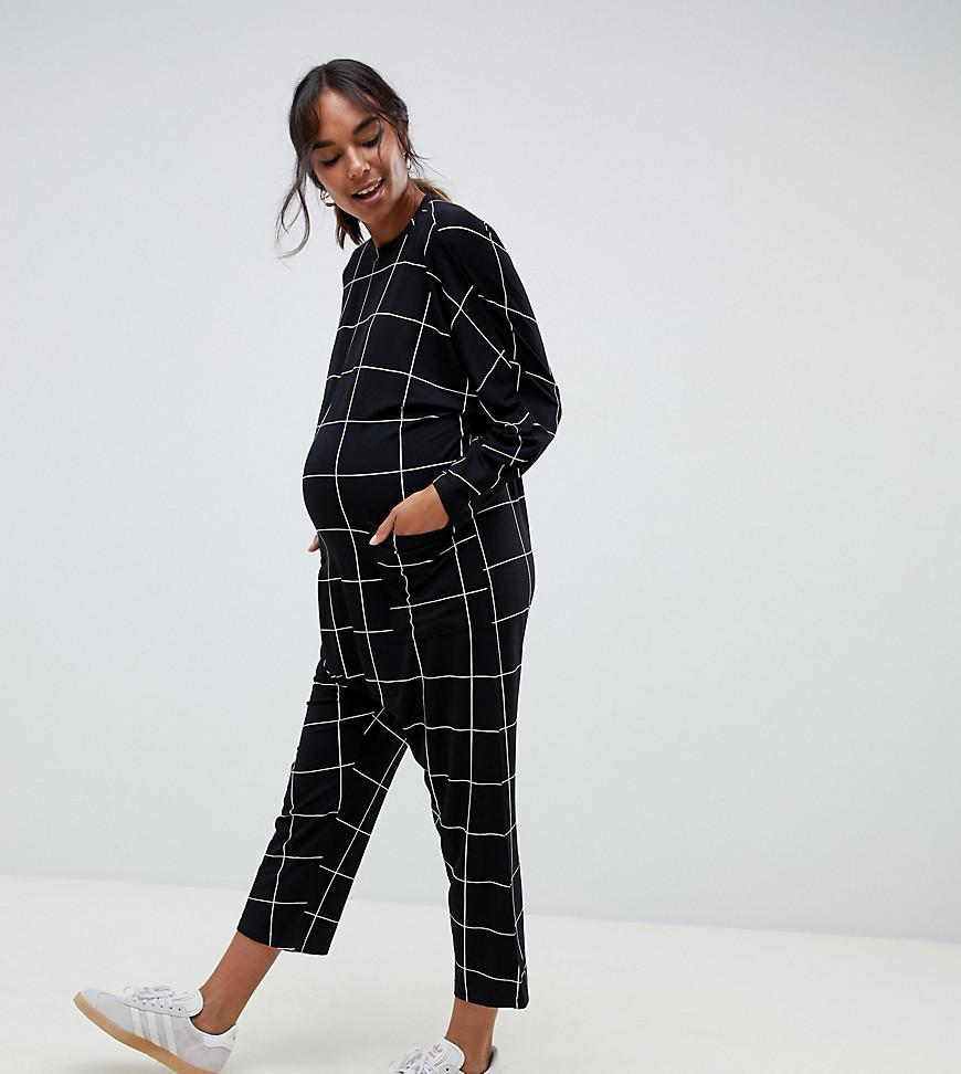 63a980b352 ASOS. Women s Black Asos Design Maternity Minimal Jersey Jumpsuit ...