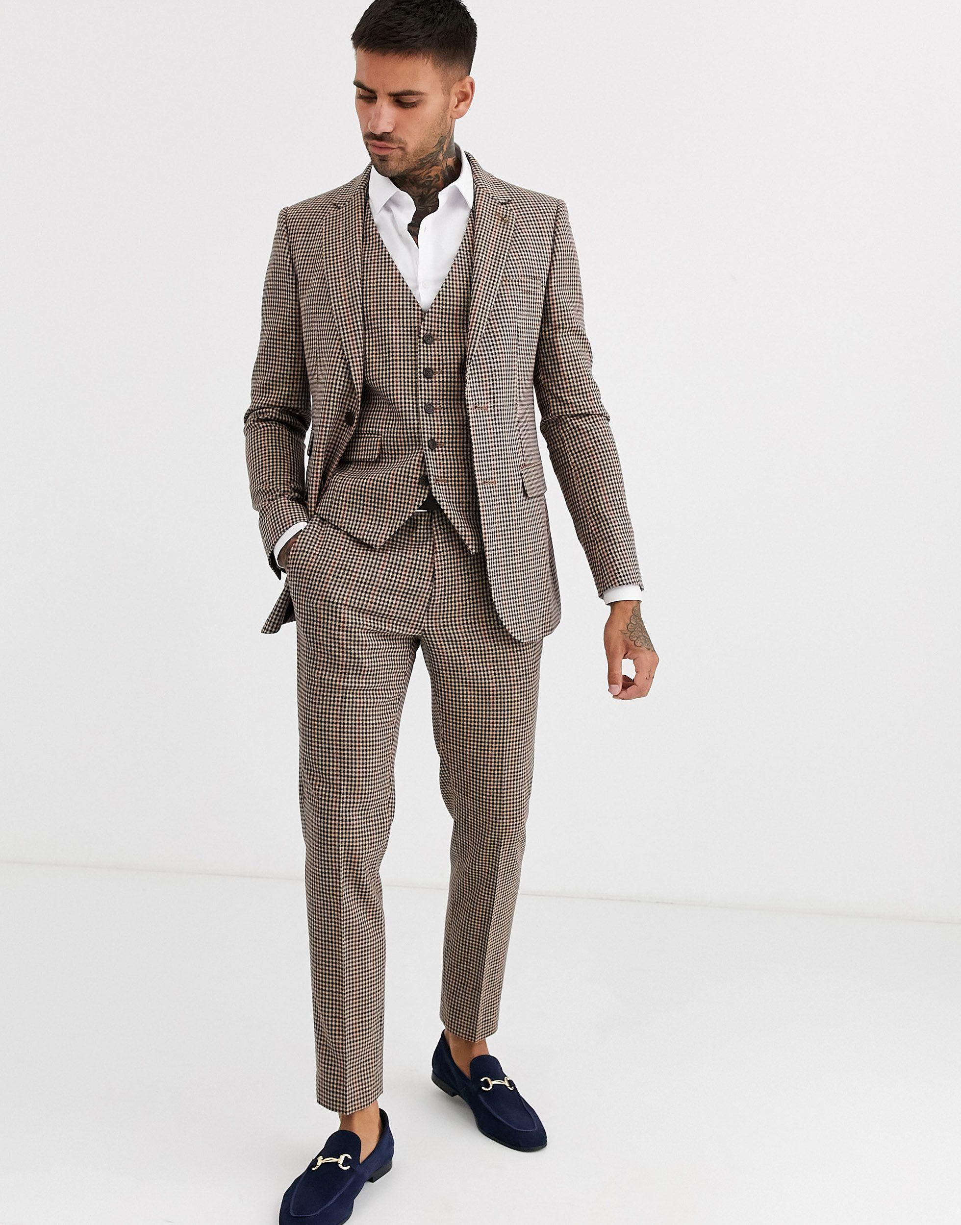 Burton Skinny-fit Pantalon Met Opvallende Ruit in het Bruin voor heren