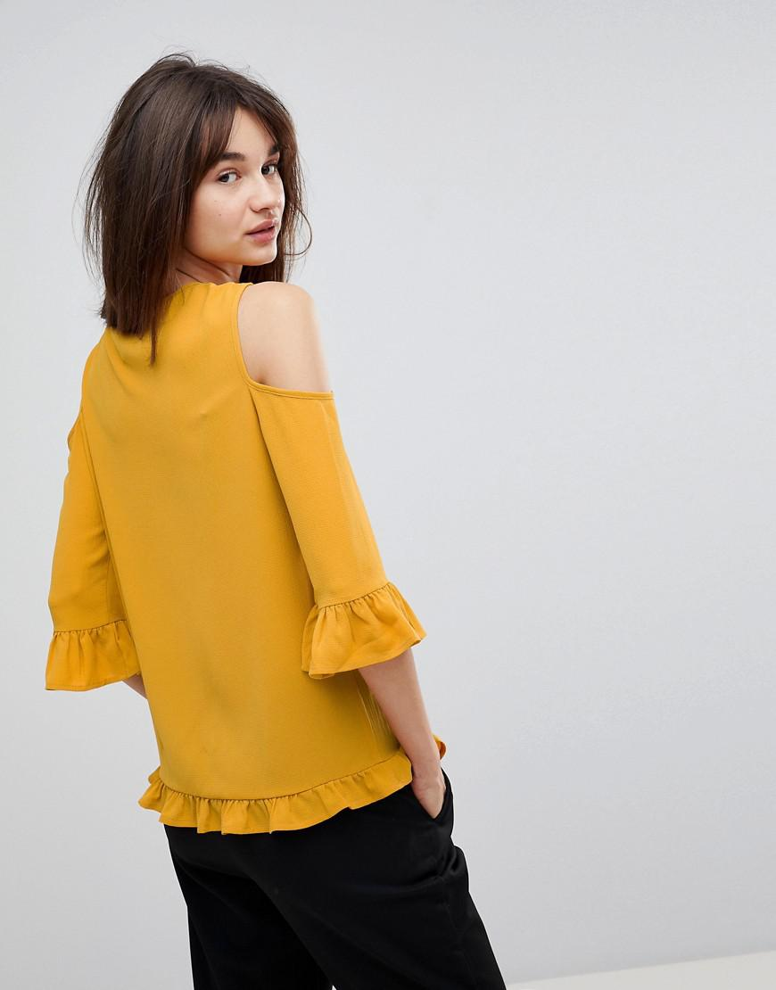 a39c2642d4b182 Y.A.S Sussi Cold Shoulder Blouse in Yellow - Lyst
