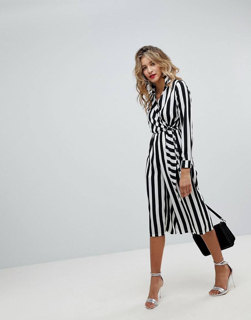 ba0b3abaffe Lyst - Missguided Wrap Front Stripe Jumpsuit in White