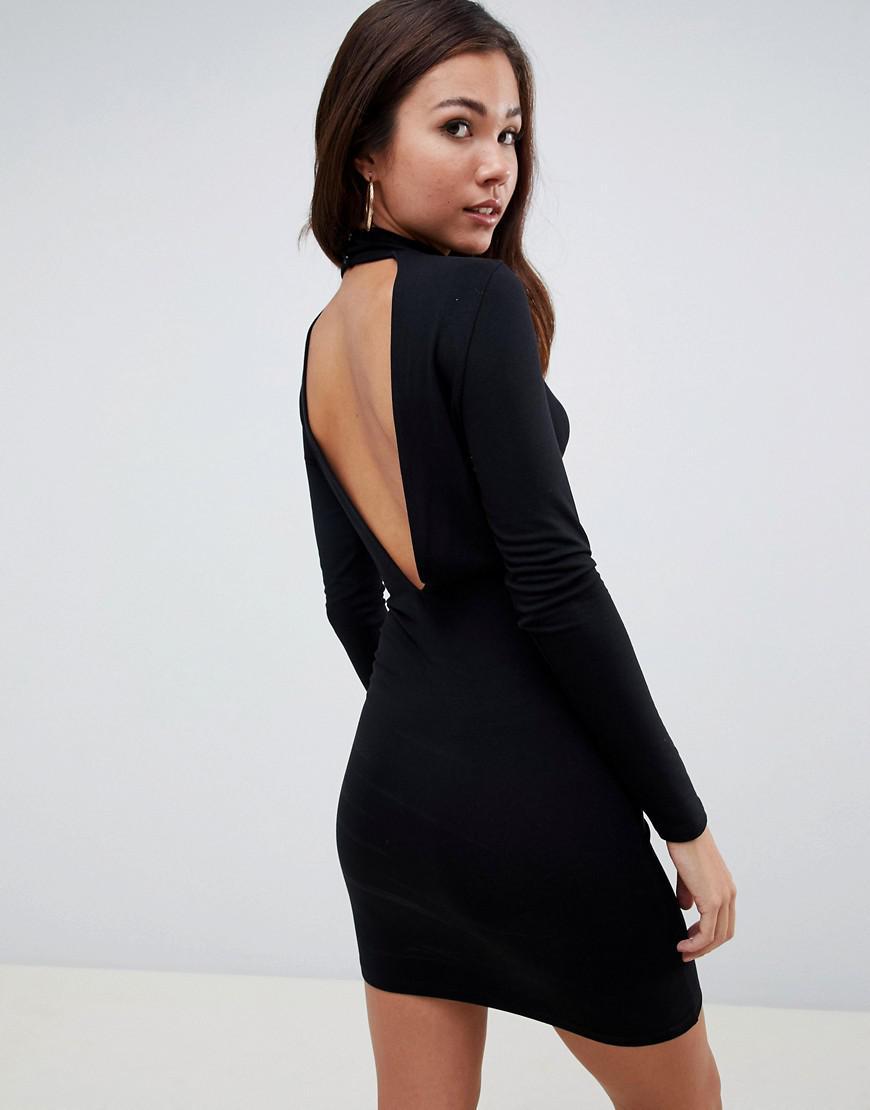 4ca44f1be71e Lyst - ASOS Deep Plunge Mini Bodycon Dress in Black