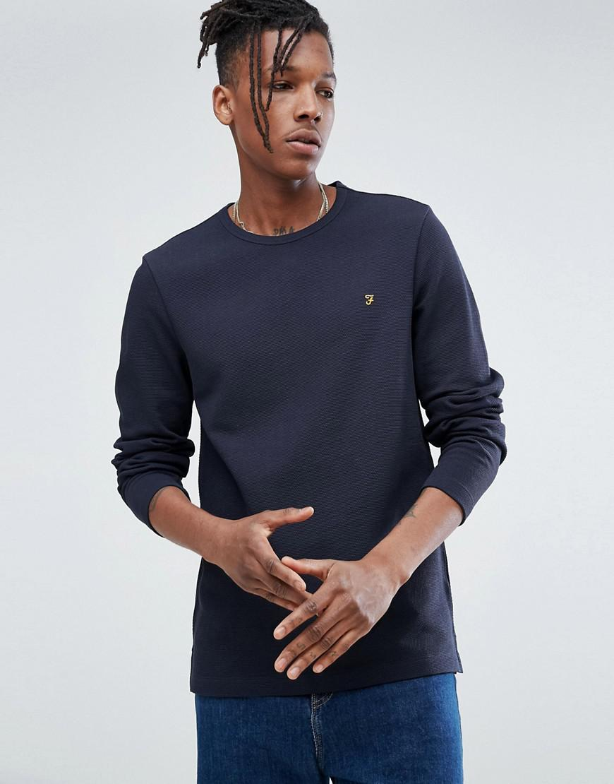 Lyst farah westland slim fit long sleeve t shirt in navy for Navy slim fit shirt