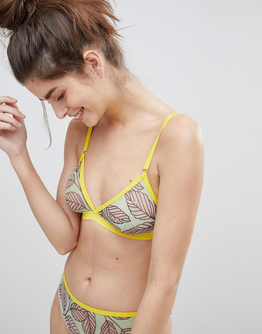 DESIGN Leaf Print Triangle Bra - Multi Asos Drop Shipping Buy Cheap Many Kinds Of Sale Online SMYwDzT7zX
