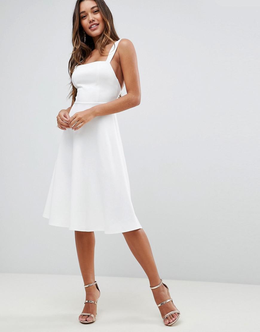 8cd0e45c9ea ASOS Asos Square Neck Midi Prom Dress in White - Lyst