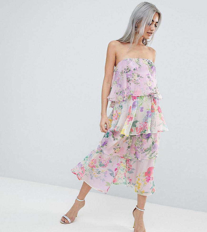 d48e46f2dd ASOS. Women s Asos Design Petite Tiered Jumpsuit In Mixed Florals
