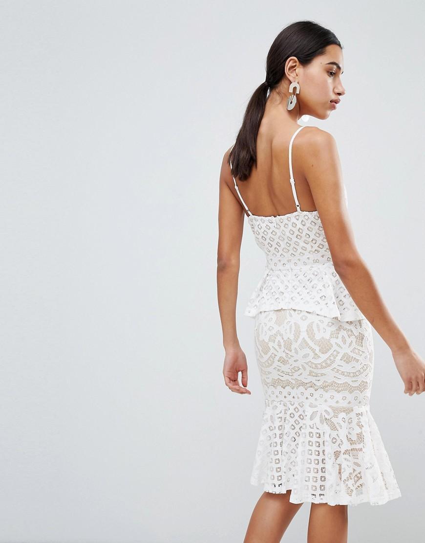 Exclusive Lace Peplum Midi Dress