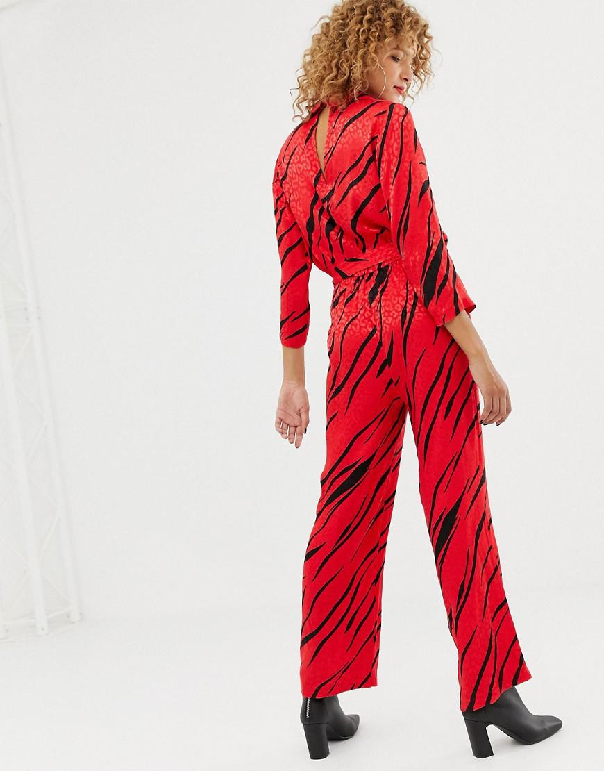 90a115ce3fb Lyst - ONLY Zebra Print Wrap Jumpsuit in Red