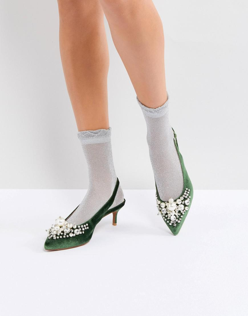 0a09f039583 Essentiel Antwerp Pastis Heeled Shoes With Pearls in Green - Lyst