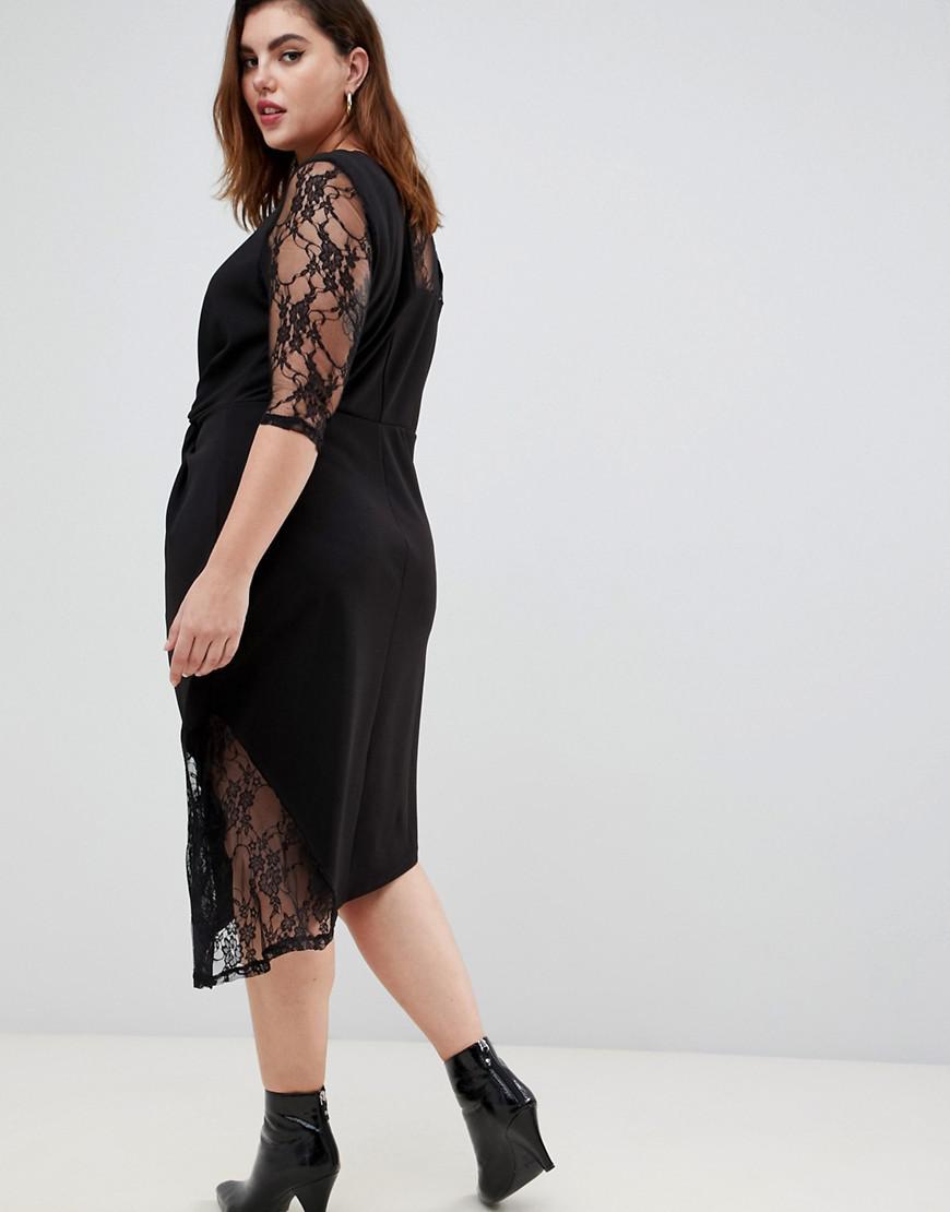eb0f1a13a2 Lyst - ASOS Asos Design Curve Lace Mix Twist Front Midi Dress in Black