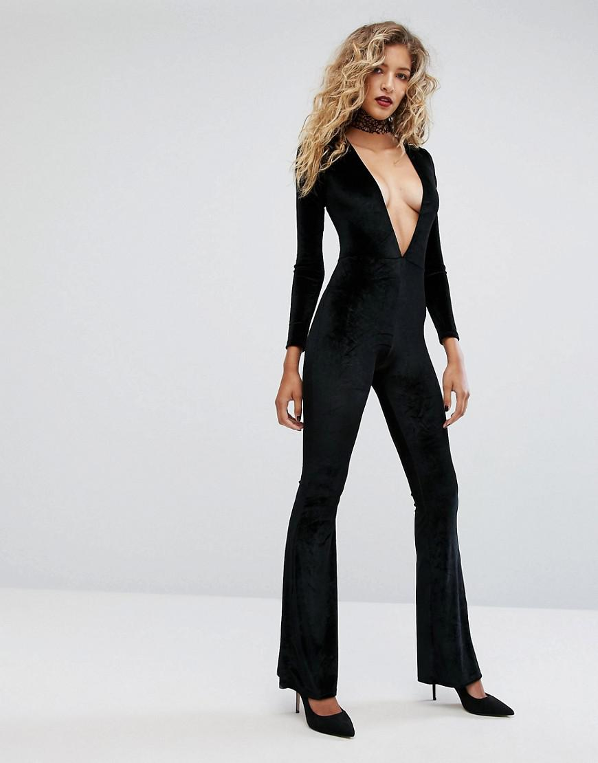 Many Colors Plunge Front Catsuit In Velvet - Black Motel Outlet Inexpensive Sneakernews Cheap Price Discount Wholesale Price Newest Cheap Price 7t7GNT8