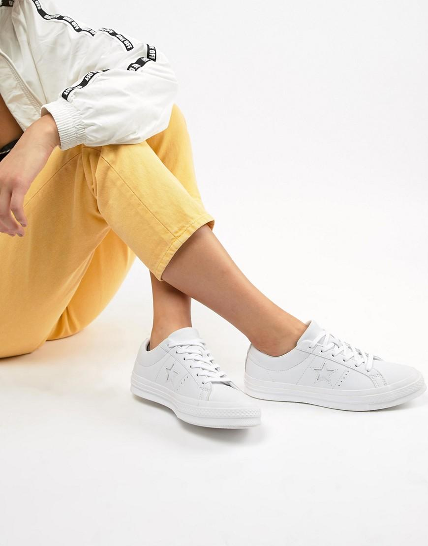 7ae4c8428d6e8d Converse One Star White Monochrome Leather Sneakers in White - Lyst