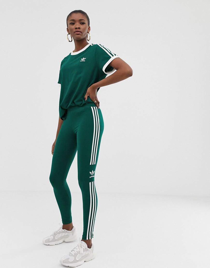 c88d2d795b2 adidas Originals Adicolor Three Stripe Trefoil legging In Green in ...