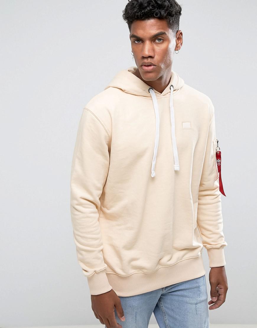 alpha industries x fit hoodie sweatshirt in caramel in. Black Bedroom Furniture Sets. Home Design Ideas