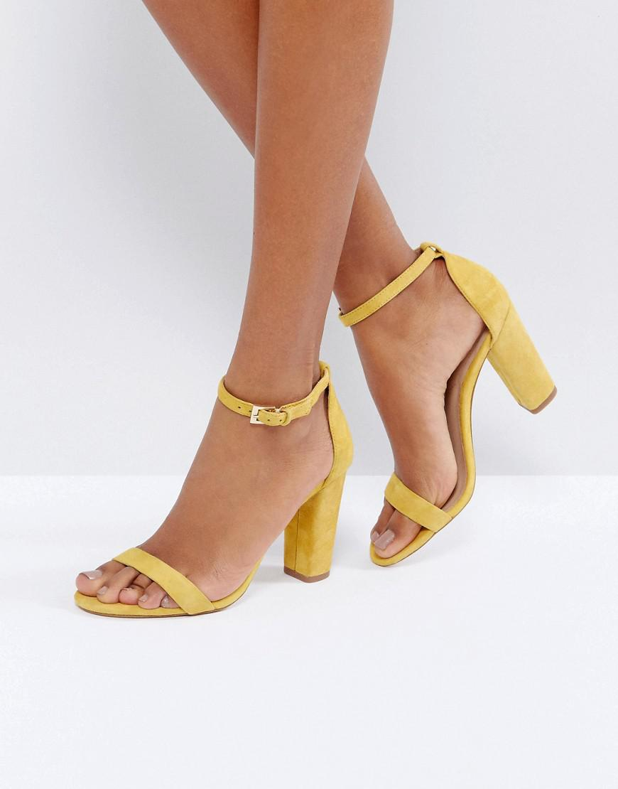 349e7d37653a ALDO Myly Suede Barely There Block Heeled Sandals in Yellow - Lyst